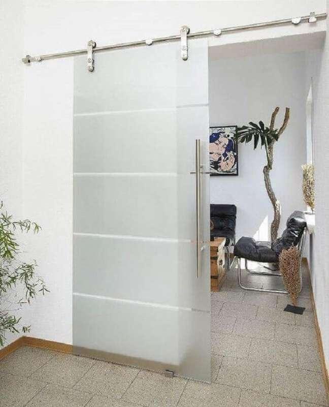 42. Porta de vidro para sala pequena com acabamento jateado. Fonte: DIY Trade