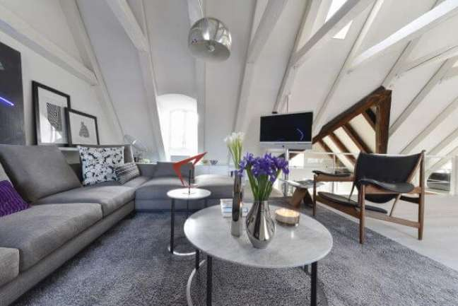 42. Sala de estar cinza e cor prata com vasos de plantas coloridas – Foto Rodrigo Maia