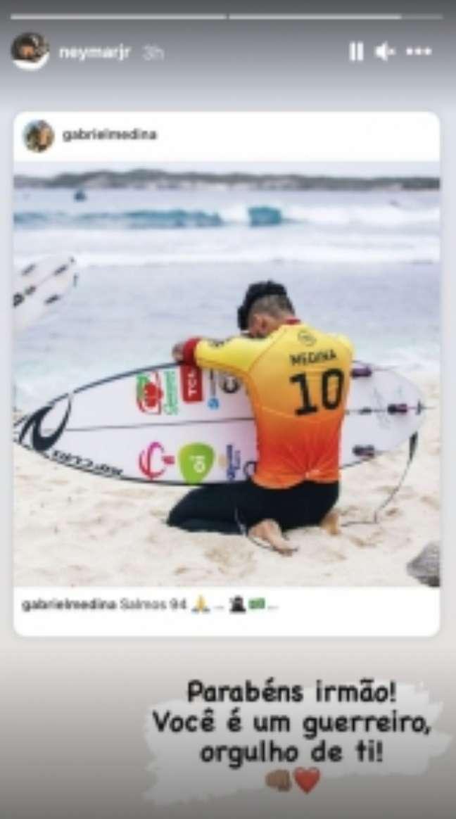 Neymar comemorou o tricampeonato mundial de Ítalo Ferreira (Reprodução / Instagram)