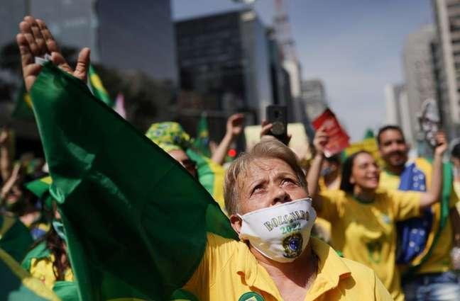 Apoiadores do presidente Jair Bolsonaro durante ato do 7 de Setembro na Avenida Paulista07/09/2021REUTERS/Amanda Perobelli
