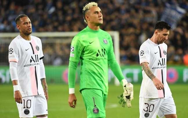 Neymar, Navas e Messi após empate do PSG com Club Brugge15/09/2021REUTERS/Piroschka Van De Wouw