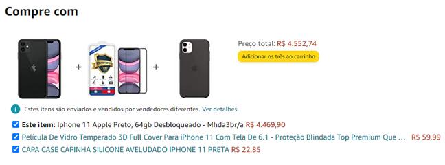 O cross-selling é uma estratégia bastante utilizada pela Amazon, possível de ser visualizada já na página do produto.