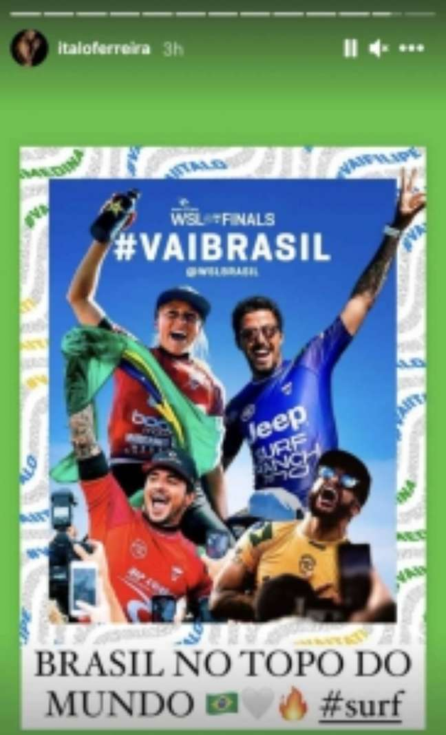 Ítalo Ferreira também comemorou o tricampeonato mundial de Gabriel Medina (Reprodução / Instagram)