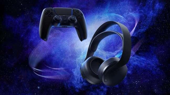 Tema Midnight Black está no controle DualSense e no headset Pulse 3D