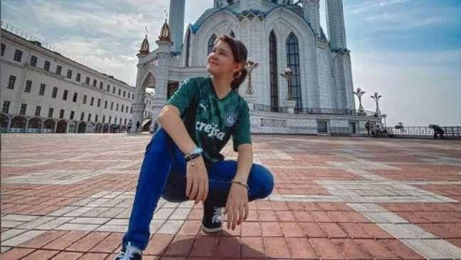 Julia, de 12 anos, mora em Kazan, na Rússia, e torce para o Palmeiras