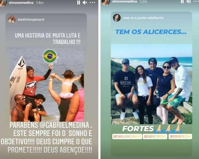 Simone Medina parabenizou o filho pelo tricampeonato mundial