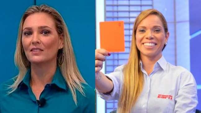 Nadine Bastos (esquerda) e Renata Ruel (direita) trocaram o apito pela TV (Foto: Montagem LANCE!)