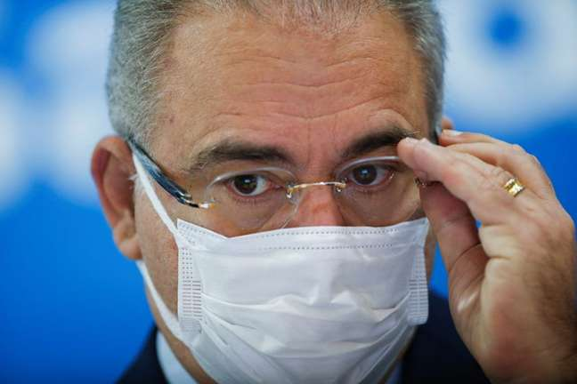 Ministro da Saúde, Marcelo Queiroga, durante entrevista coletiva em Brasília REUTERS/Adriano Machado