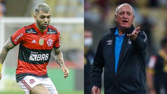 Gabigol e Felipão discutiram em campo (Montagem Lance! Fotos: Marcelo Cortes / Flamengo; LUCAS UEBEL/GREMIO FBPA)