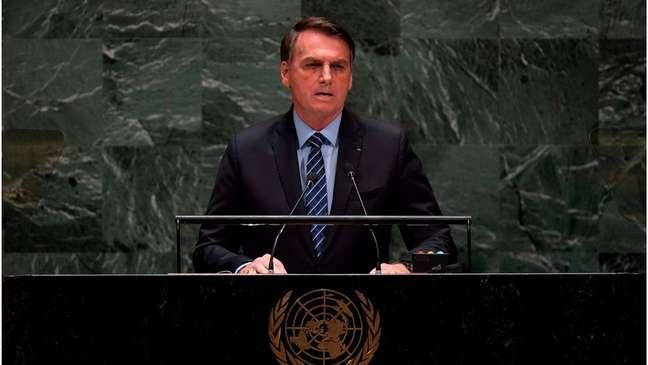 Jair Bolsonaro em discurso na abertura da Assembleia-Geral da ONU em 2019