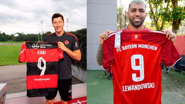 Gabigol e Lewandowski exibem as camisas autografadas que trocaram (Montagem LANCE! Foto: Marcelo Cortes/Flamengo e Foto: Divulgação/Bayern)