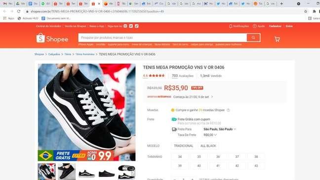 Promoção de tênis da Vans da Shopee chamou atenção do Procon-SP