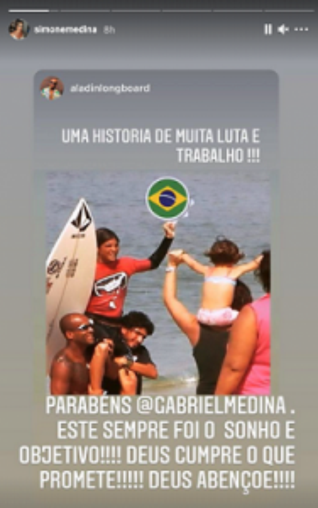 Simone Medina celebrou conquista do filho (Foto: Reprodução)