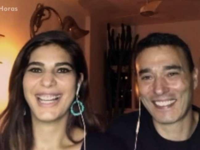 Andréia Sadi e André Rizek tiveram dois filhos gêmeos em 2021 (Reprodução/Globo)