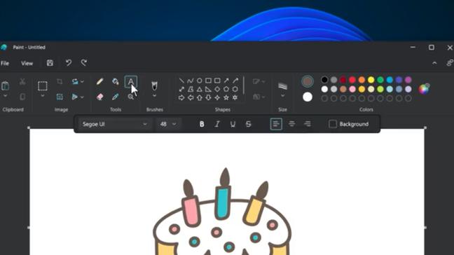 Editor de texto do Paint para Windows 11