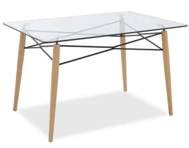 33. Mesa eiffel retangular com tampo de vidro para sala de jantar – Foto Bella Brasil Decor