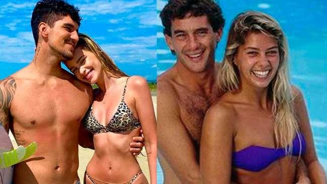 Medina é casado com a modelo Yasmin Brunet; Senna namorou Galisteu até seu último dia de vida (Foto: Montagem LANCE!)