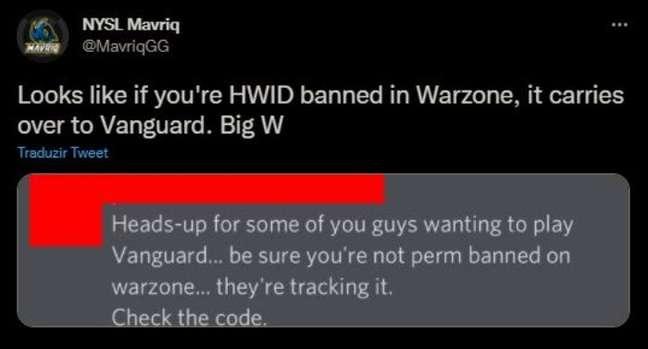 Tweet de Mavriq mostrando que os banimentos de CoD: Warzone estão sendo transferidos para CoD: Vanguard