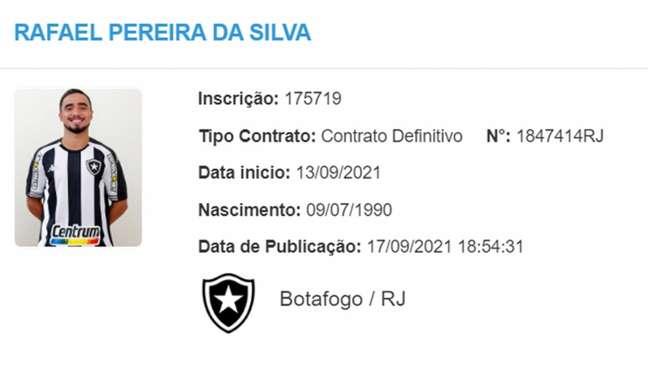 Nome de Rafael já regularizado no BID (Foto: Reprodução)