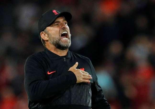 Juergen Klopp durante partida do Liverpool contra o Milan pela Liga dos Campeões 15/09/2021 REUTERS/Phil Noble