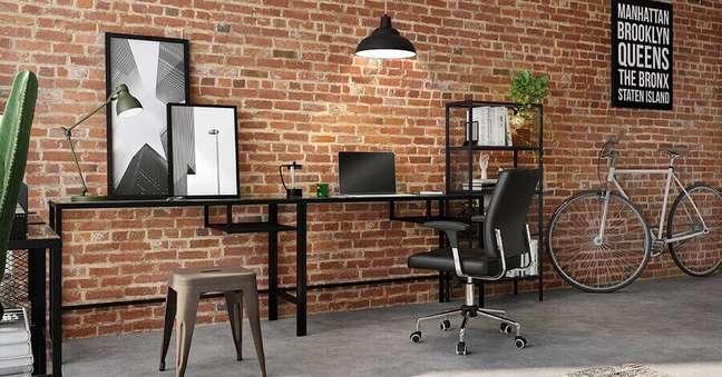 6. Os modelos de mesa de ferro na cor preta ajudam a compor um ambiente de estilo industrial – Foto: Tok&Stok