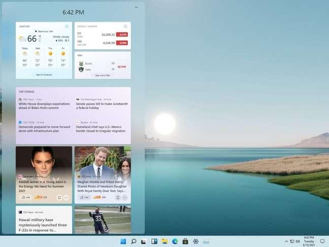 Área de widgets do Windows 11