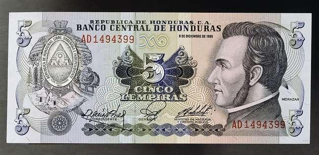 Rosto de Morazán aparece na cédula de cinco lempiras, moeda de Honduras