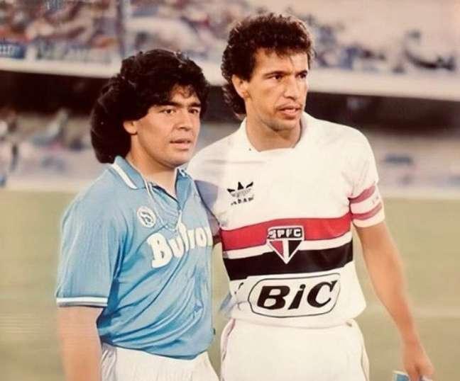 Maradona e Careca jogaram juntos no Napoli (Reprodução/Instagram @saopaulofc)