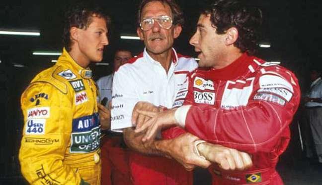 Senna e Schumacher: briga no GP da França.