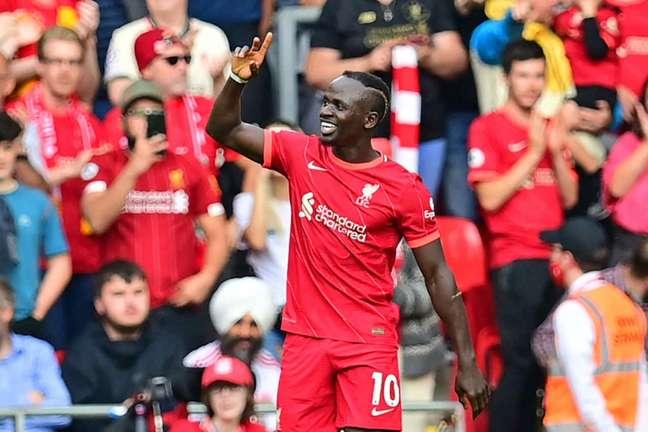Mané marcou seu centésimo gol com a camisa do Liverpool (Foto: PAUL ELLIS / AFP)