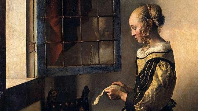 Detalhe do quadro 'Moça lendo uma carta à janela', de Johannes Vermeer, 1657-59
