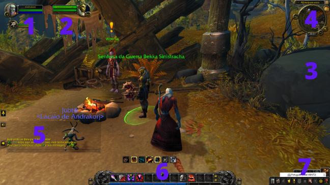 Localização das ferramentas na tela do jogador