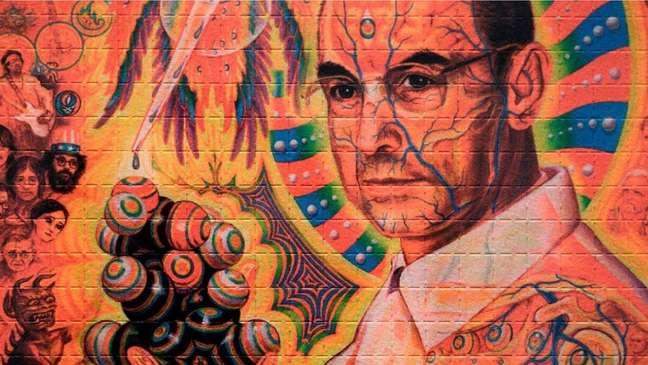 Um retrato do químico suíço Albert Hoffman, que descobriu as propriedades alucinógenas do LSD em 1943