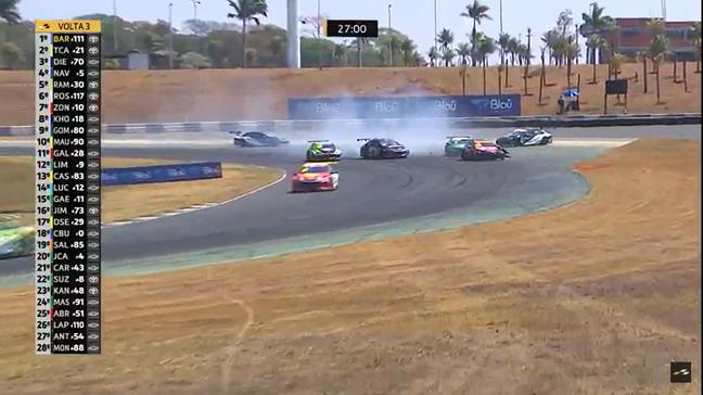 Toque na primeira curva da corrida 2 da Stock Car no anel externo de Goiânia
