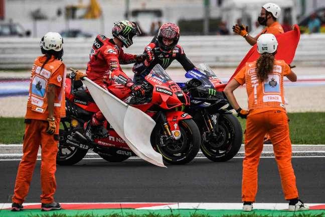 Francesco Bagnaia e Fabio Quartararo foram os dois primeiros no pódio em Misano