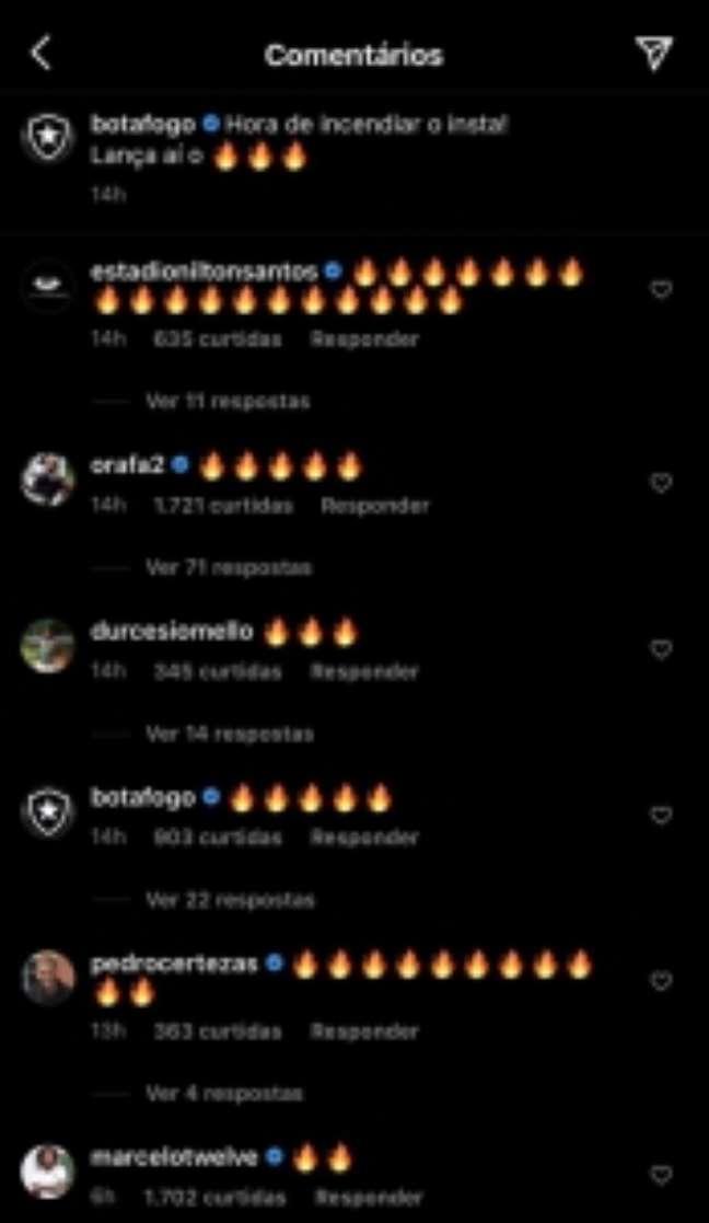 Interação de Marcelo com o Botafogo (Foto: Reprodução/Instagram)