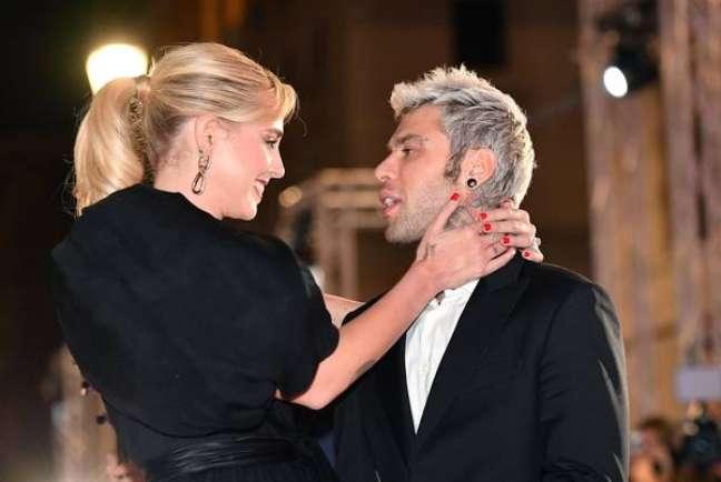 Ferragni e Fedez durante um evento em Roma, na Itália