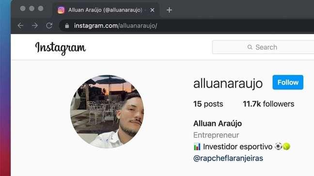 Perfil de Alluan Araújo no Instagram tem 11 mil seguidores