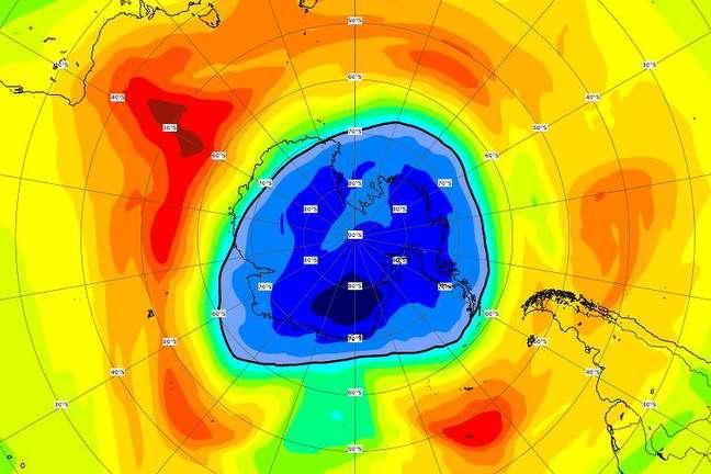 Imagem mostra que buraco na camada de ozônio já está maior do que o continente gelado