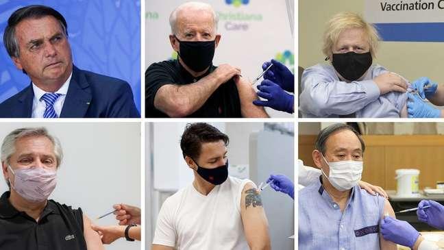 Maioria dos líderes tomaram vacinas e compartilharam as imagens (Créditos: Reuters, Governo do Reino Unido, Reprodução)