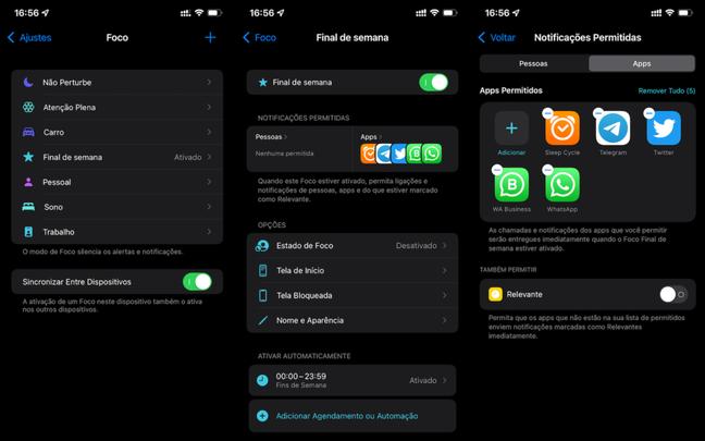 Configuração dos modos de foco no iOS 15