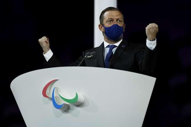 Andrew Parsons, presidente do Comitê Paralimpico Internacional no encerramento da Paralimpíada de Tóquio Issei Kato Reuters