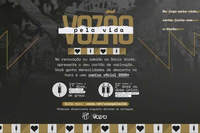 Ceará lançou campanha de vacinação contra covid Divulgação Ceará SC