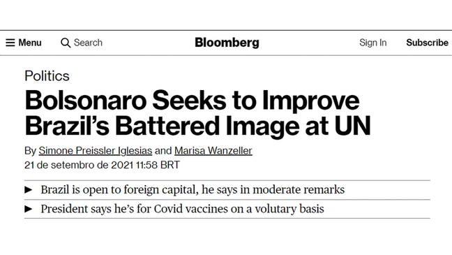 'Bolsonaro tenta melhorar a combalida imagem do Brasil na ONU', disse a Bloomberg