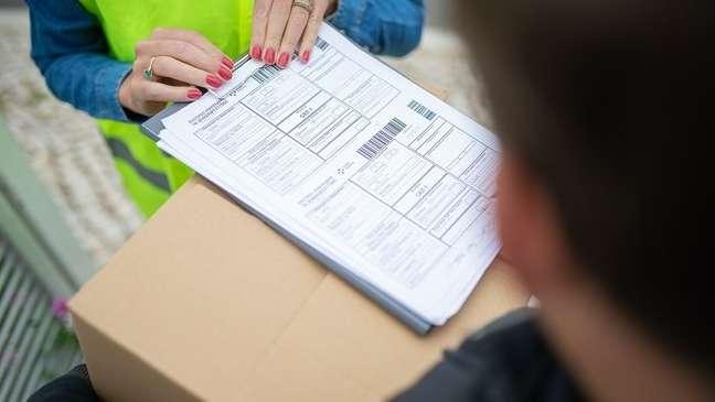 Assinatura de recibo de entrega