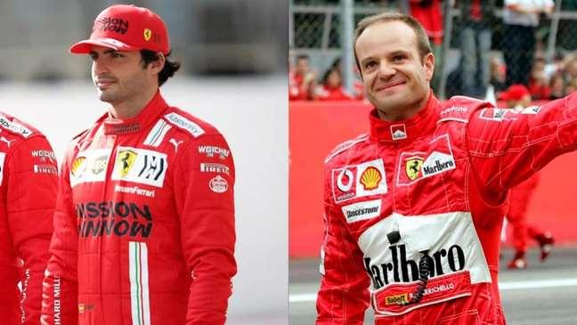 Carlos Sainz disse que deseja ser protagonista na Ferrari e lembrou de Schumacher e Rubinho (Foto: Montagem LANCE!)