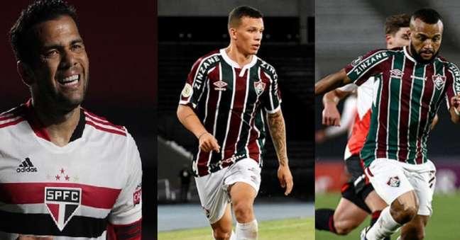 Daniel Alves, Calegari e Samuel Xavier (Fotos: Rubens Chiri, Mailson Santana/FFC e Lucas Merçon/FFC)