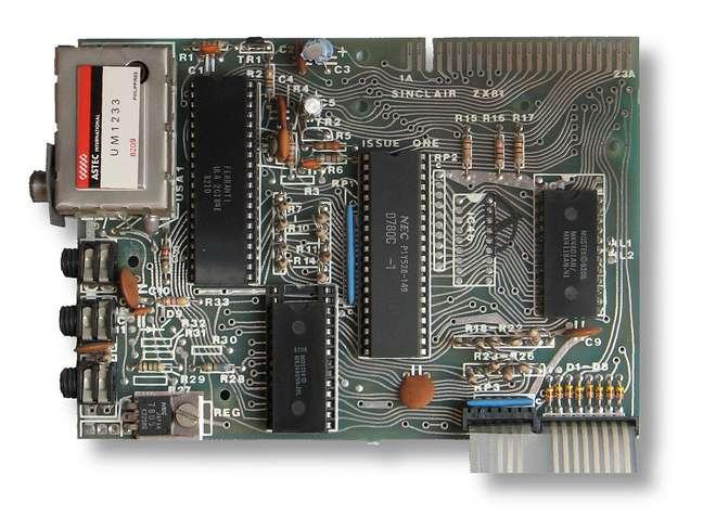 A simplíssima placa-mãe do ZX-81.