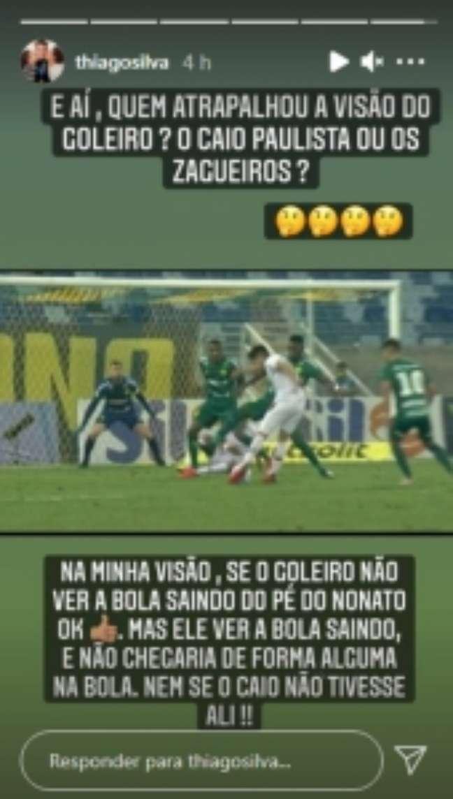 Thiago Silva criticou lance contra o Fluminense (Foto: Reprodução)