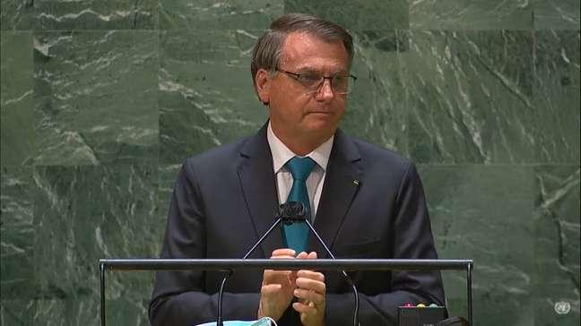 O presidente Jair Bolsonaro discursa na 76ª Assembleia-Geral da ONU.